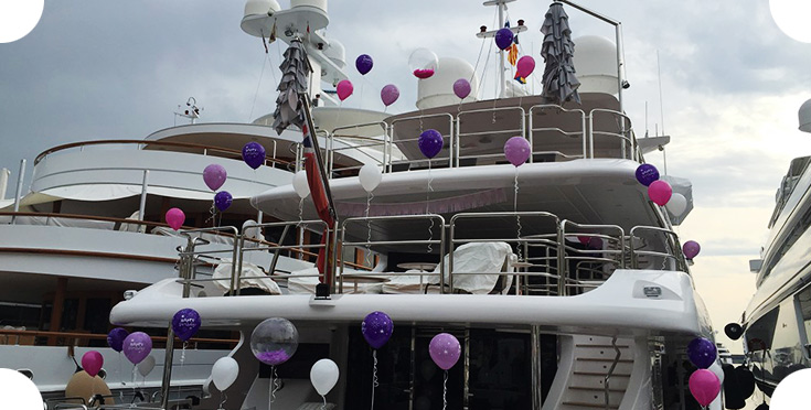 Yacht decoration for a birthday party